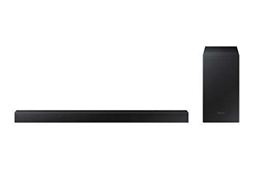 SAMSUNG - Barra de Sonido HW-T430/ZF de 100 W, Dolby Digital 2.1, Bluetooth 4.2. Power On, One Remote Control, Subwoofer Inalámbrico Color Negro