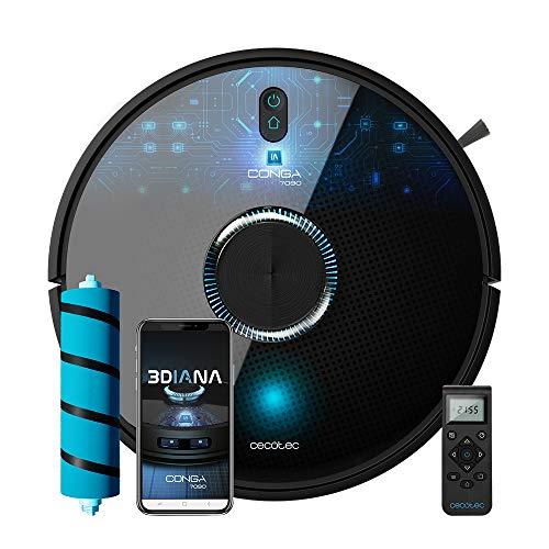 Cecotec Robot aspirador y fregasuelos Conga 7090 IA, Inteligencia Artificial y Láser, Aspira, friega, barre y pasa la mopa, Tecn ciclónica, Reconoce objetos, Sensores alta precisión, 10000Pa, RoomPlan