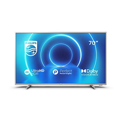 Philips 70PUS7555/12 Televisor 4K UHD de 178 cm (70 Pulgadas) (4K UHD, P5 Picture Engine, Dolby Vision, Dolby Atmos, HDR 10+, Saphi Smart TV, HDMI, USB), Color Plata (Modelo de 2020/2021)