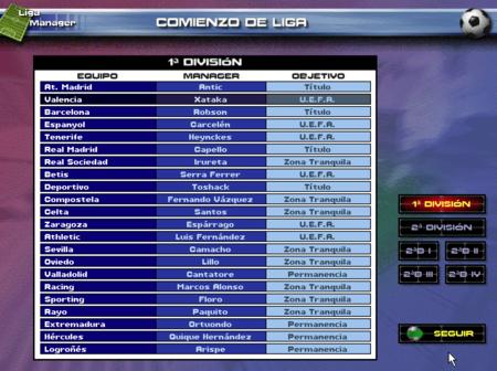 PC Fútbol 5.0 Objetivos de cada club aquel año