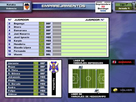 PC Fútbol 5.0 Selección de marcajes
