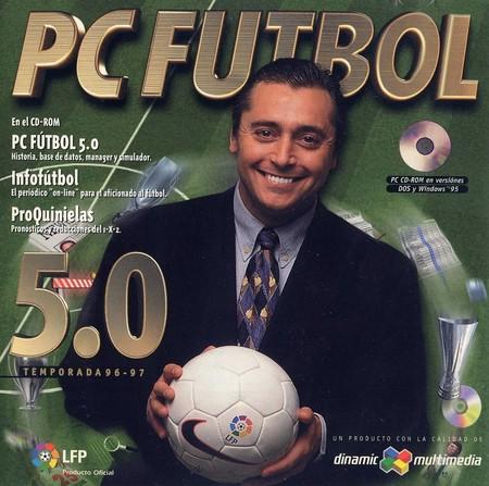 Portada del PC Fútbol 5.0 con la imagen de Michael Robinson.