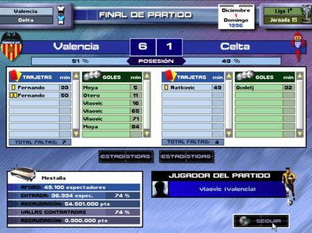 PC Fútbol 5.0 partido contra el Celta, ganado 6-1