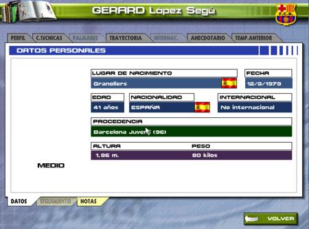 Ficha de Gerard López. La edad que muestra el juego es la actual, pero entonces tenía 17 años siendo canterano del Barça.