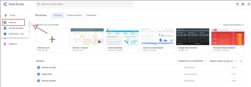 Crear informe fuente de datos